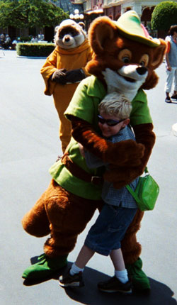 Robin Hood hugging my son