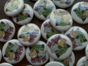 Pins for the Those Darn Cats podcast, photo sent to BFF to let her know shipment had arrived in time for MouseFest