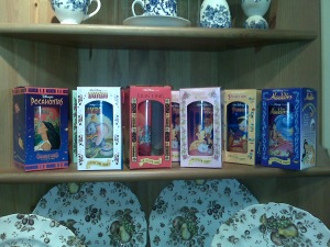 A full (?) set of collectible Disney movies drinking glasses, at Goodwill, Commonwealth Avenue, Boston