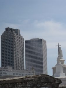 statue and high rises