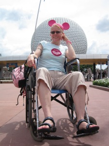 Myself at Epcot in a wheelchair