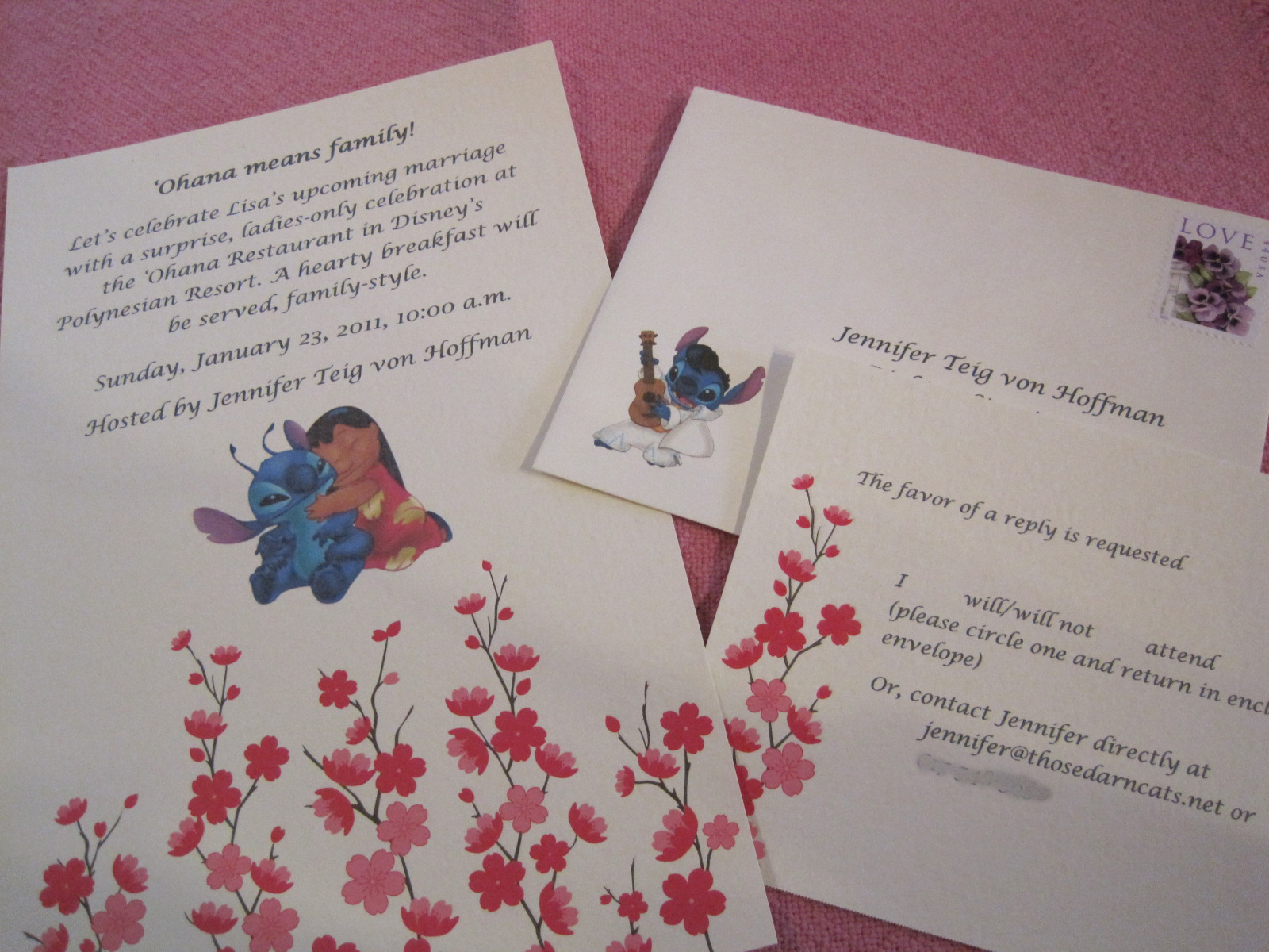 lilo and stitch invitations for the bridal shower
