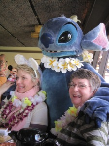 Lisa, Sharon, and Stitch at the bridal shower