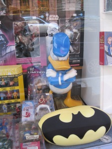 Donald Duck in Game Store Window
