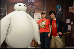 Baymax, Hiro, and Jennifer at a meet and greet at Disney's Hollywood Studios